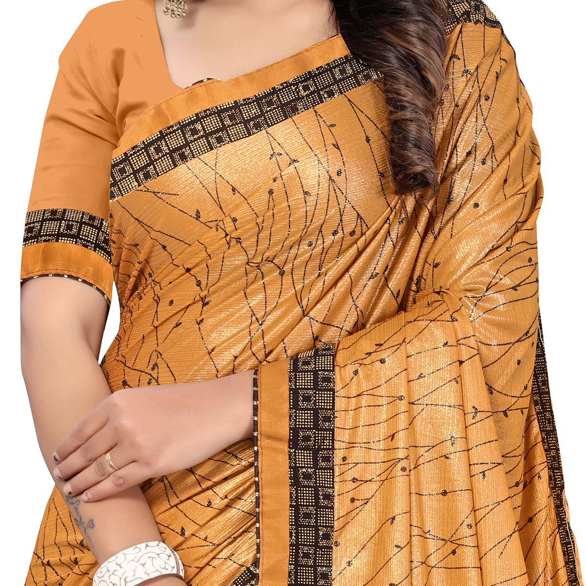 Pleasant Coffee Brown Colored Party Wear Printed Lycra Blend Saree