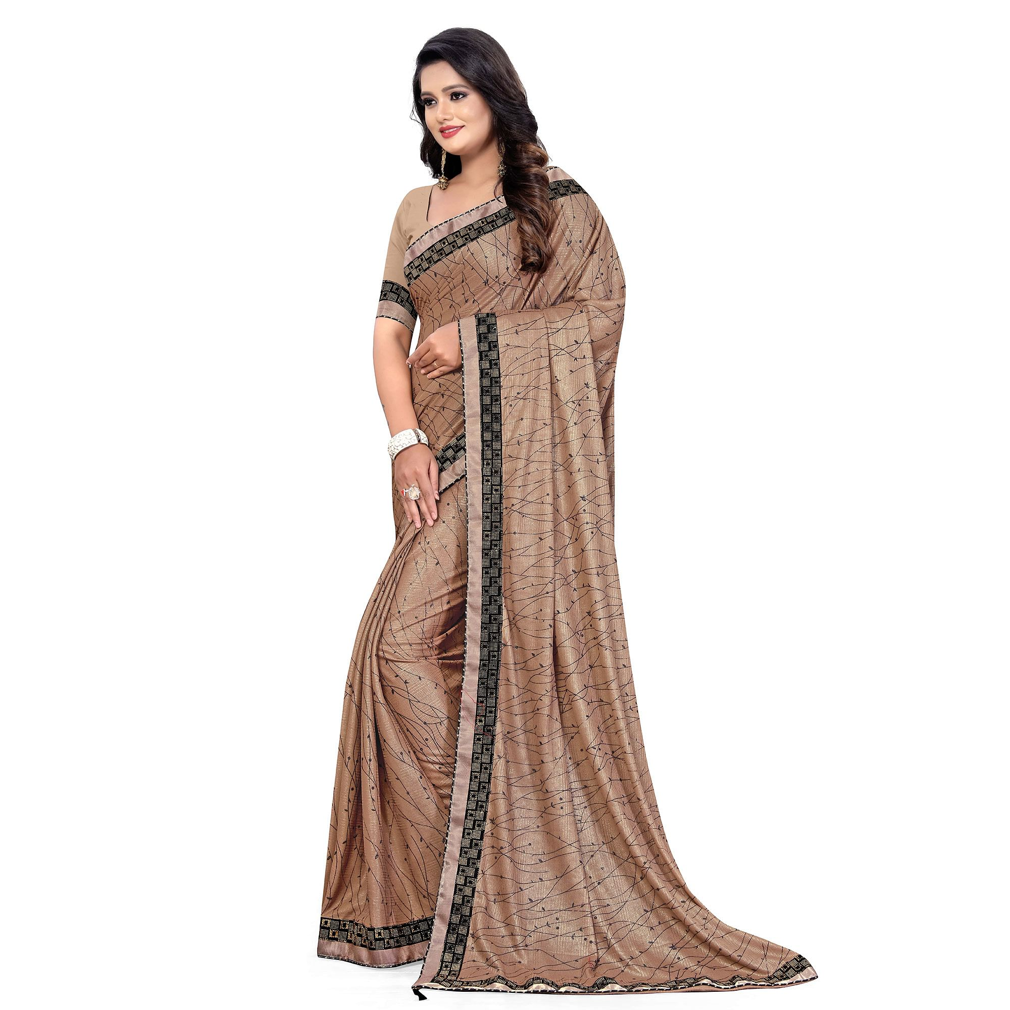 Energetic Grey Colored Party Wear Printed Lycra Blend Saree
