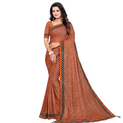 Glowing Orange Colored Party Wear Printed Lycra Blend Saree