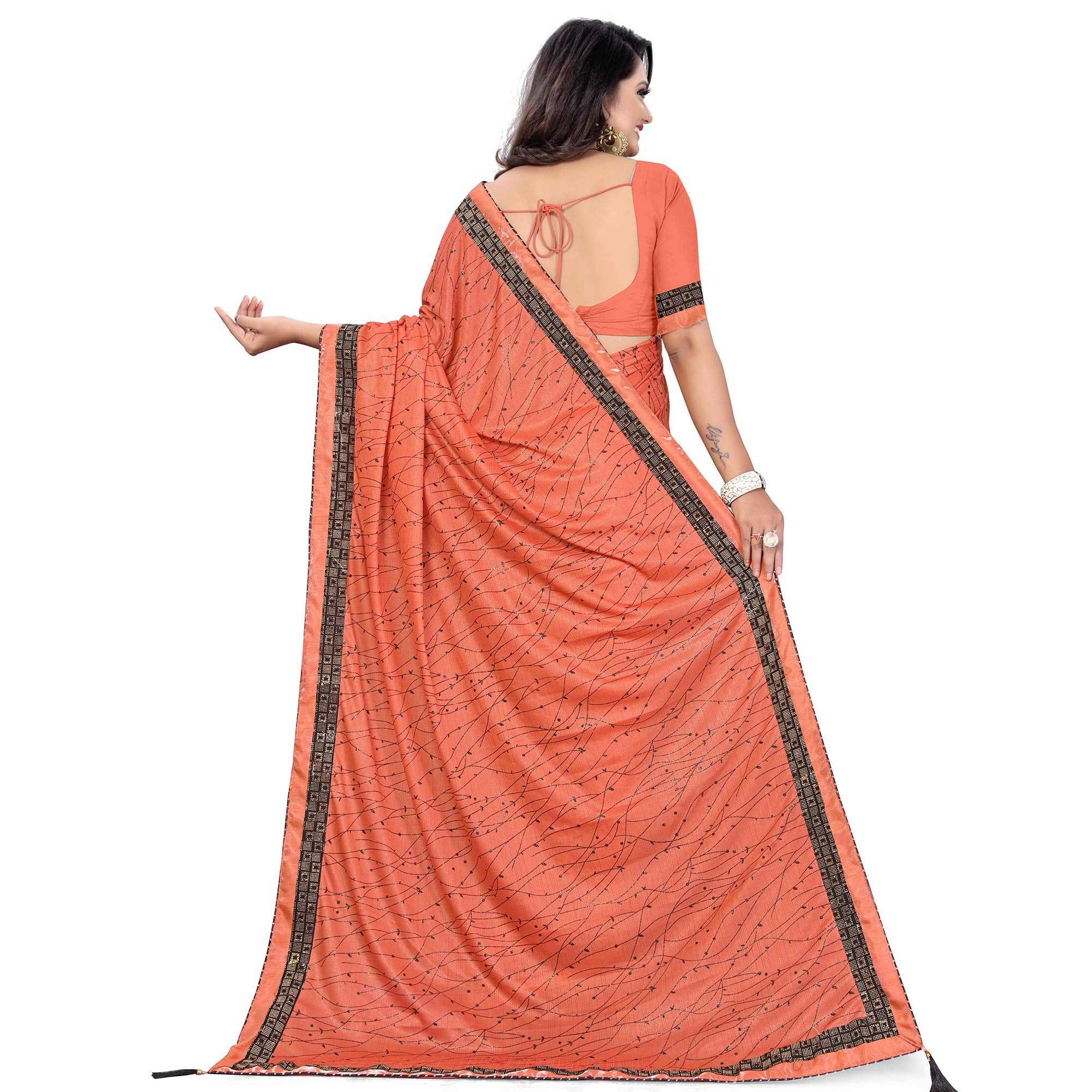 Exceptional Pink Colored Party Wear Printed Lycra Blend Saree