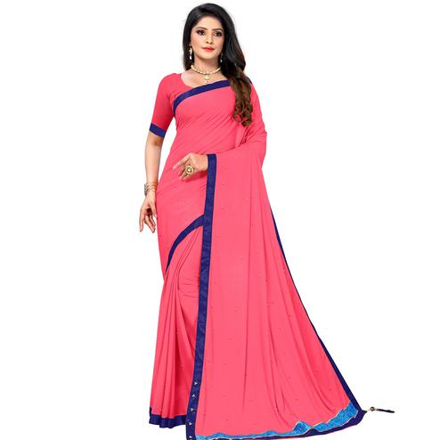 Gleaming Baby Pink Colored Party Wear Lycra Blend Saree