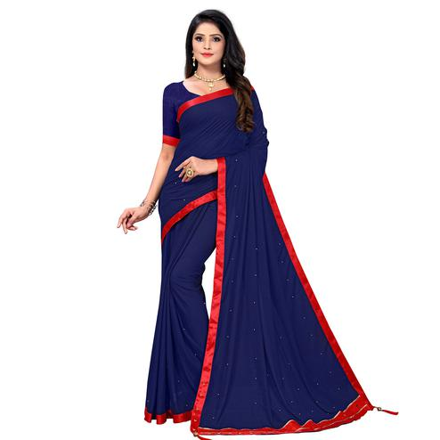 Mesmeric Blue Colored Party Wear Lycra Blend Saree