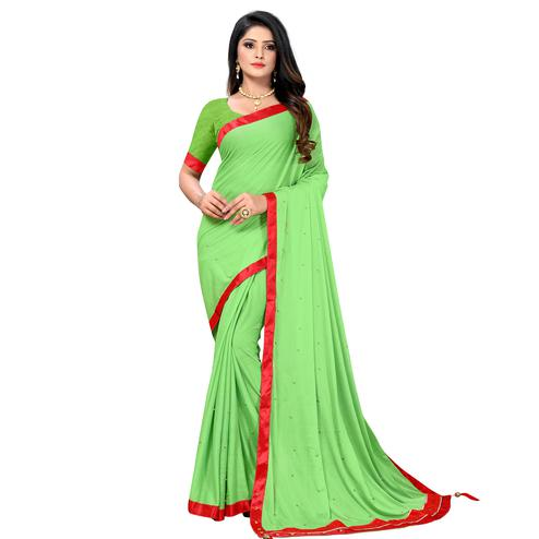Unique Green Colored Party Wear Lycra Blend Saree