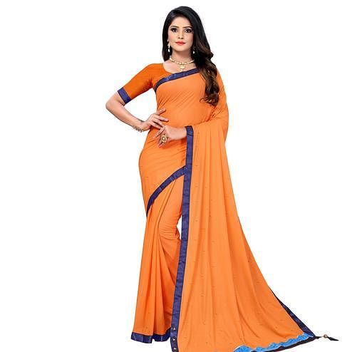 Demanding Orange Colored Party Wear Lycra Blend Saree
