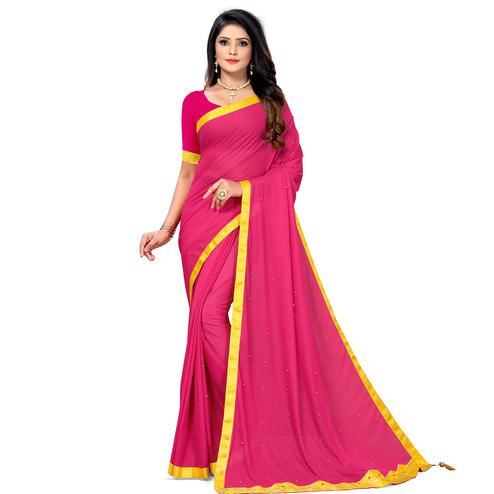 Refreshing Pink Colored Party Wear Lycra Blend Saree