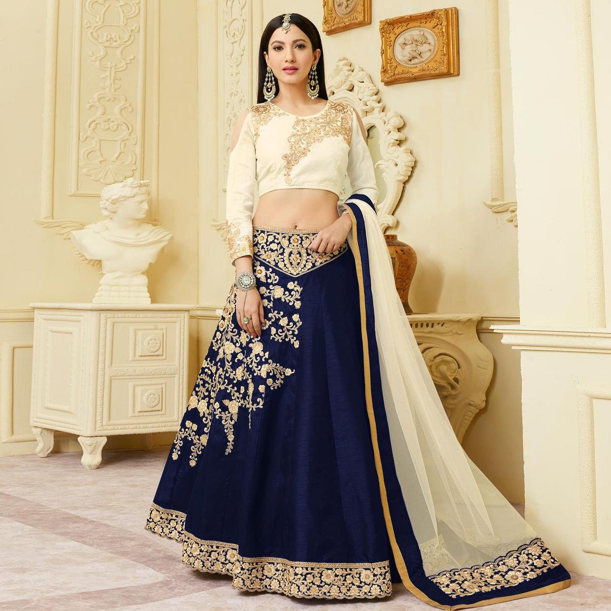 Gorgeous Navy Designer Embroidered Mulberry Silk Lehenga Choli