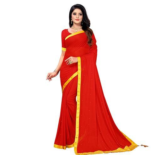 Magnetic Red Colored Party Wear Lycra Blend Saree