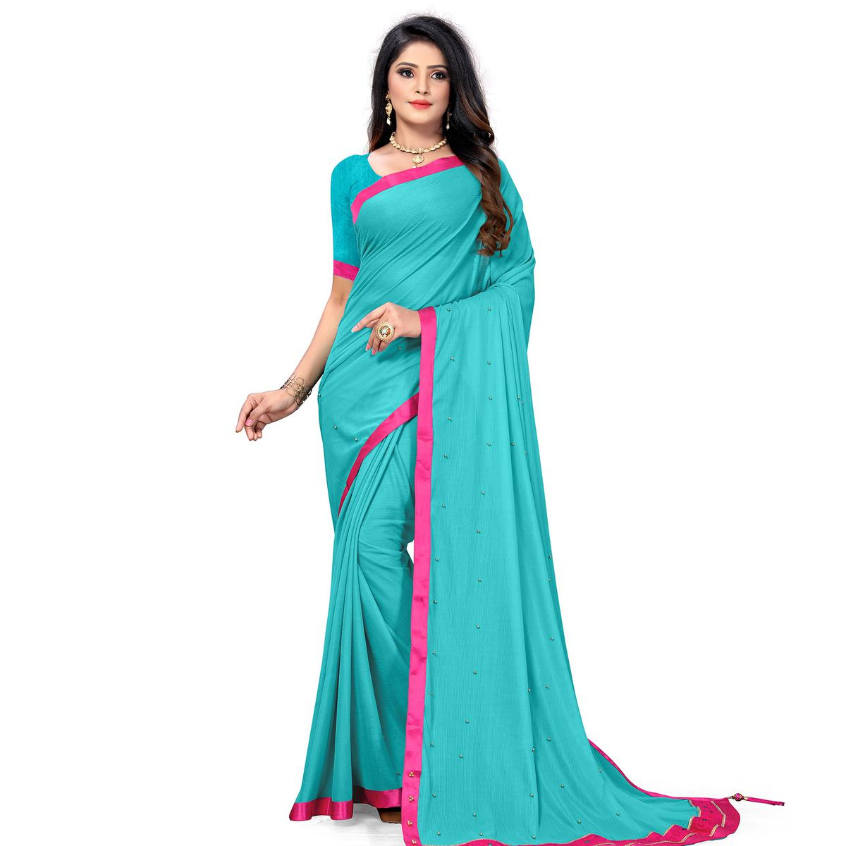 Hypnotic Sky Blue Colored Party Wear Lycra Blend Saree