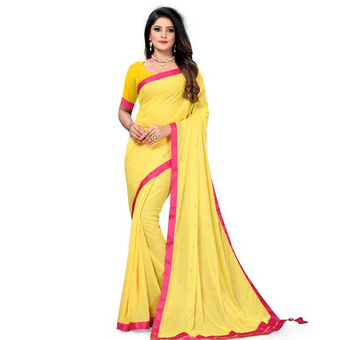 Flattering Yellow Colored Party Wear Lycra Blend Saree