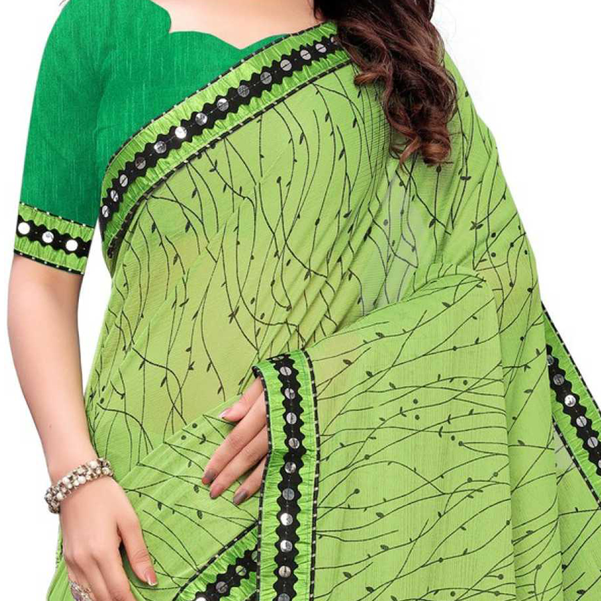 Excellent Green Colored Party Wear Printed Lycra Blend Saree