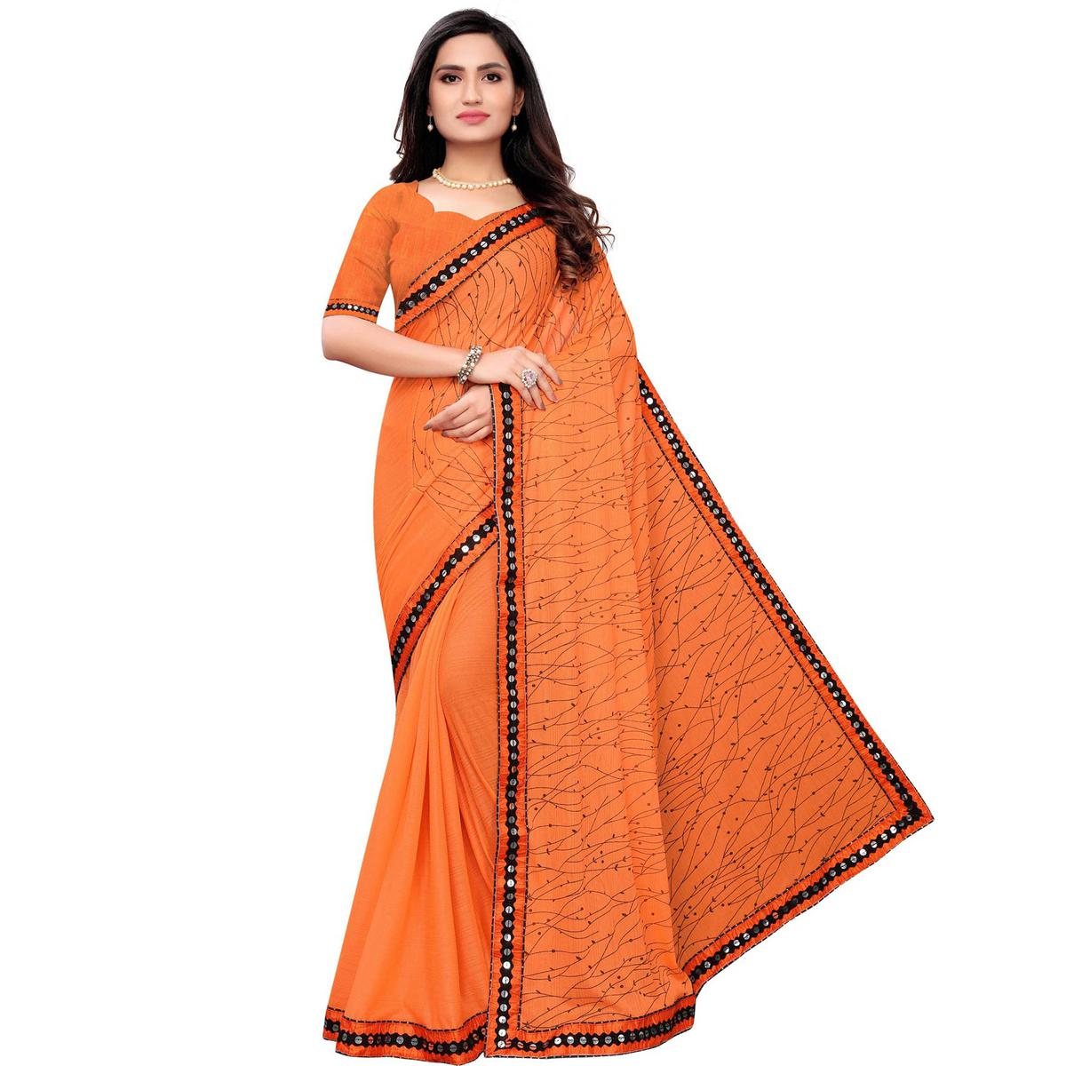 Preferable Orange Colored Party Wear Printed Lycra Blend Saree