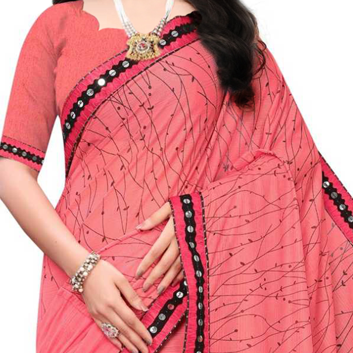 Marvellous Pink Colored Party Wear Printed Lycra Blend Saree
