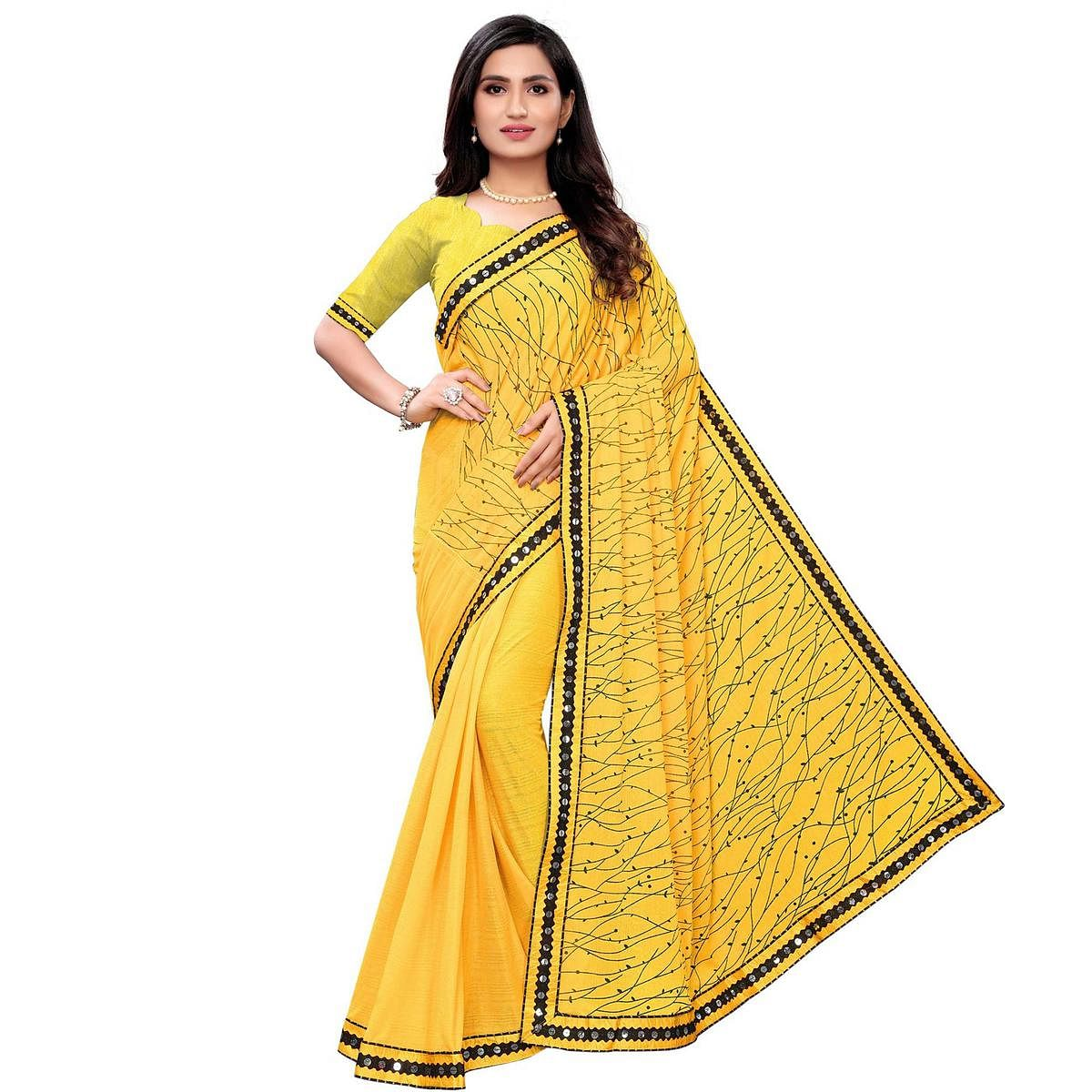 Pretty Yellow Colored Party Wear Printed Lycra Blend Saree
