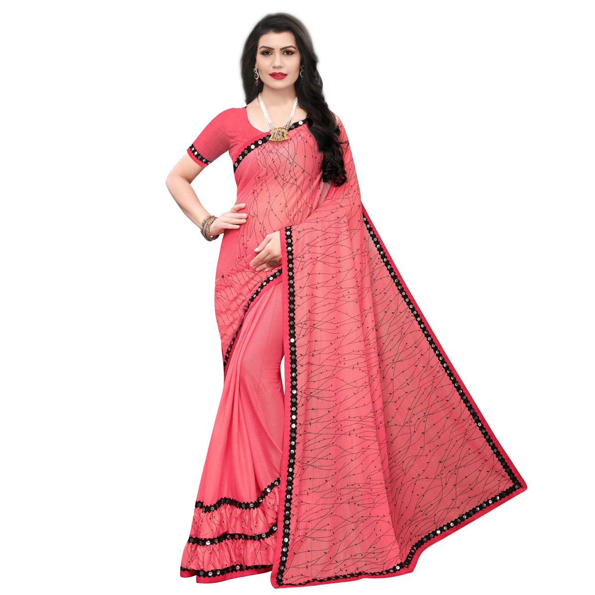 Alluring Gajri Colored Party Wear Printed Lycra Blend Saree