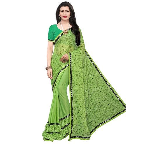 Sensational Green Colored Party Wear Printed Lycra Blend Saree
