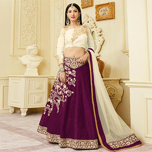 Gorgeous Purple Designer Embroidered Mulberry Silk Lehenga Choli