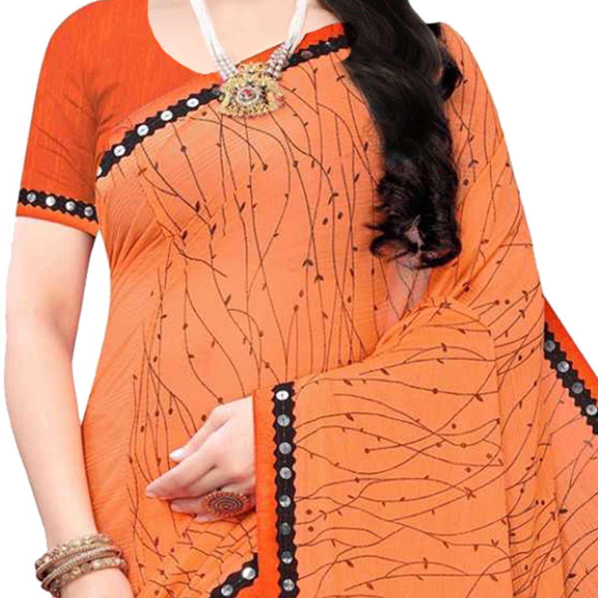 Flaunt Orange Colored Party Wear Printed Lycra Blend Saree