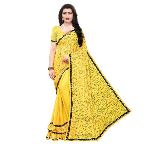 Flirty Yellow Colored Party Wear Printed Lycra Blend Saree
