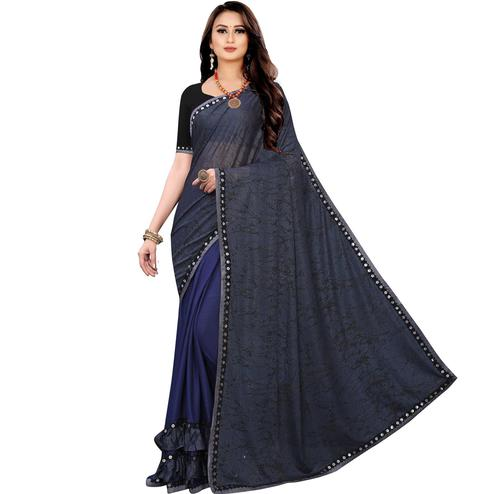 Classy Blue Colored Party Wear Printed Lycra Blend Half & Half Saree