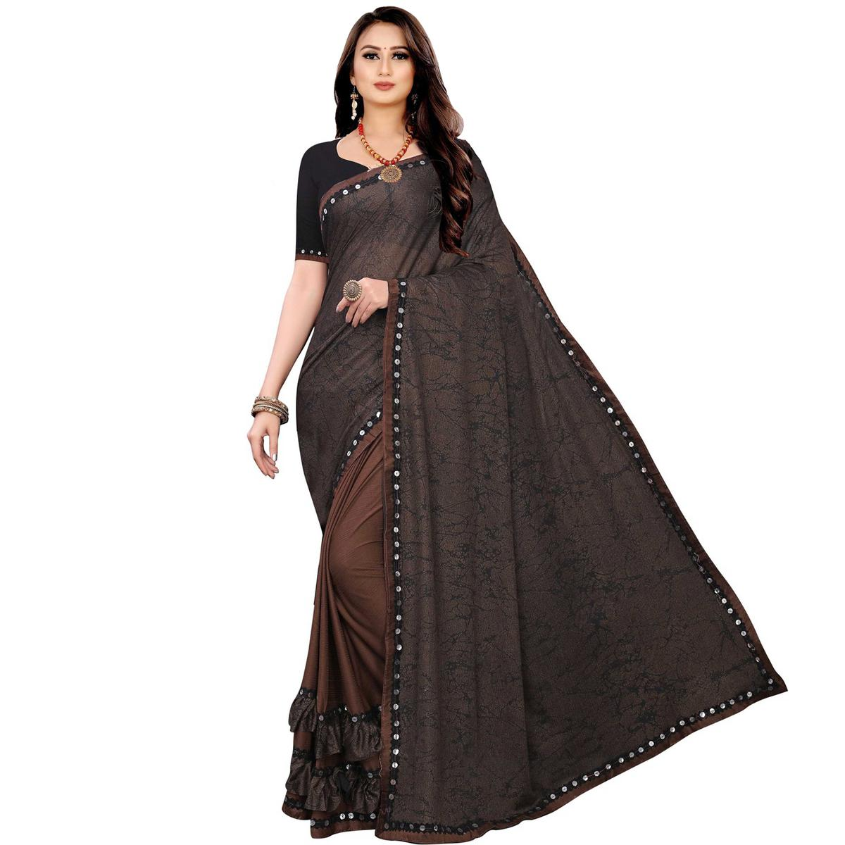 Prominent Coffee Brown Colored Party Wear Printed Lycra Blend Half & Half Saree