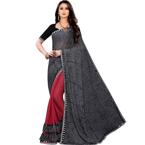 Appealing Grey Colored Party Wear Printed Lycra Blend Half & Half Saree