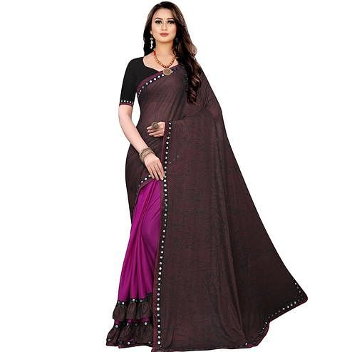 Capricious Maroon Colored Party Wear Printed Lycra Blend Half & Half Saree