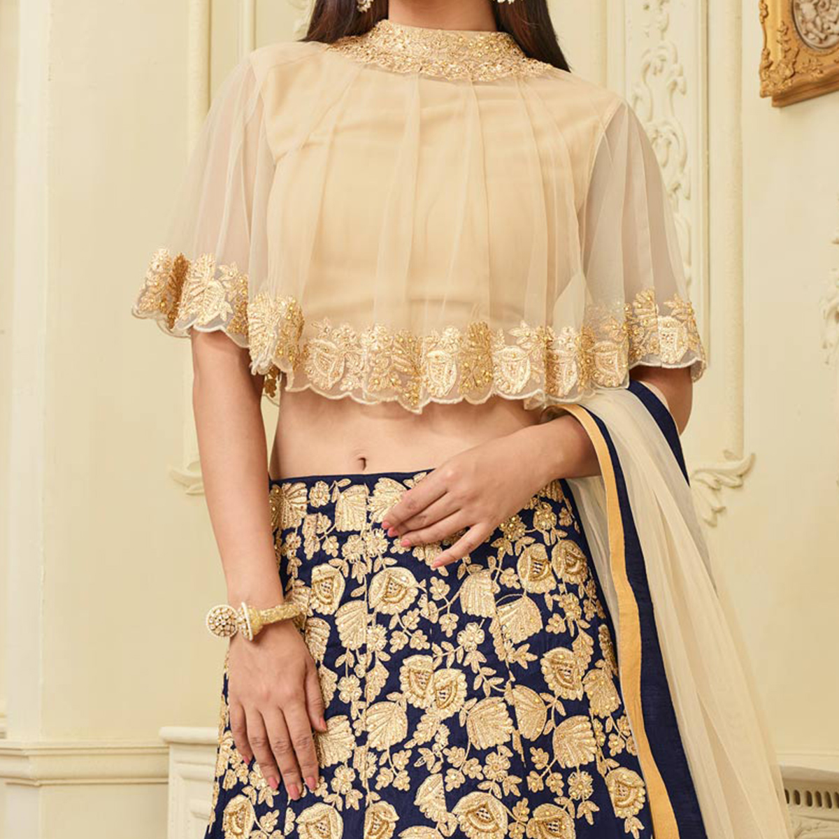 Mesmerising Blue Designer Embroidered Mulberry Silk Lehenga Choli