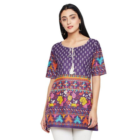 Darzaania - Purple Colored Casual Wear Floral Printed Cotton Top