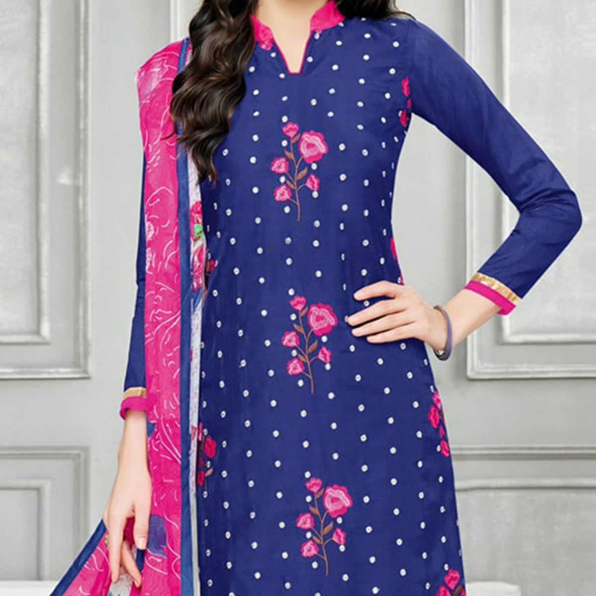 Navy Blue - Pink Chanderi Salwar Suit