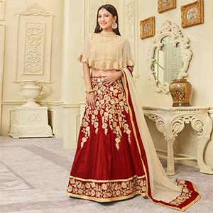 Mesmerising Red Designer Embroidered Mulberry Silk Lehenga Choli