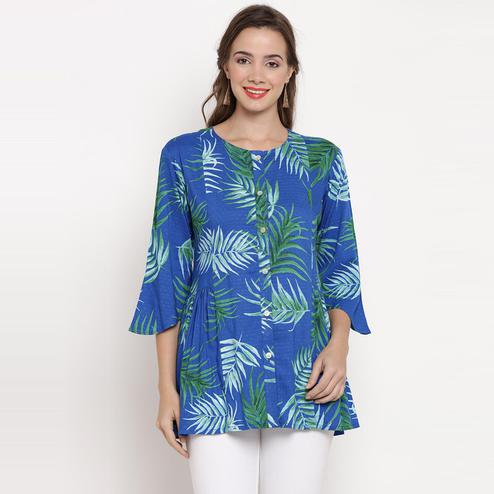 Darzaania - Blue Colored Casual Wear Palm Leaves Printed Rayon Top
