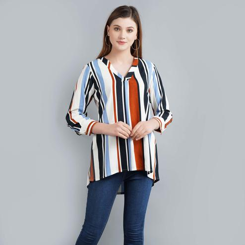 Darzaania - Multi Colored Casual Wear Bold Stripe Printed Rayon Top