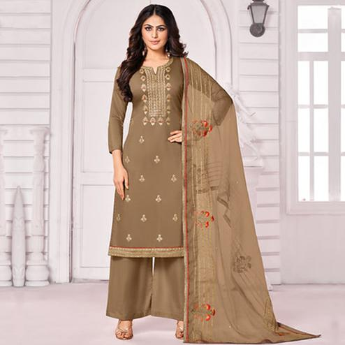 Exotic Brown Colored Party Wear Embroidered Cotton Palazzo Suit