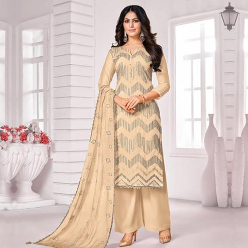 Elegant Beige Colored Party Wear Embroidered Cotton Palazzo Suit
