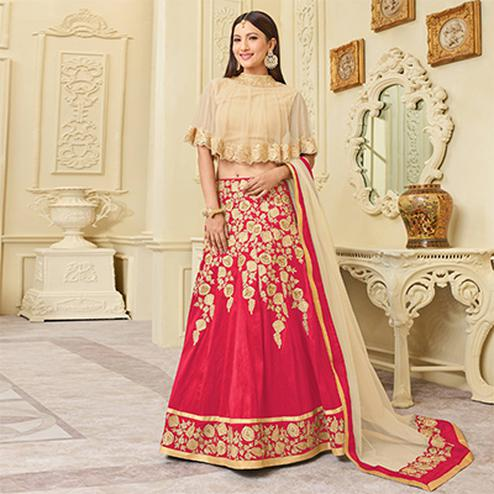 Mesmerising Pink Designer Embroidered Mulberry Silk Lehenga Choli