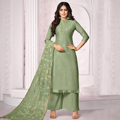 Pleasant Green Colored Party Wear Embroidered Cotton Palazzo Suit