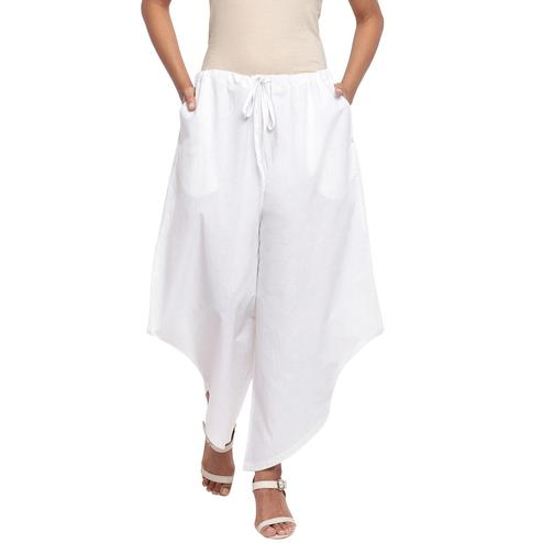 Fabnest - White Colored Casual Wear Assymetrical Cotton Pant