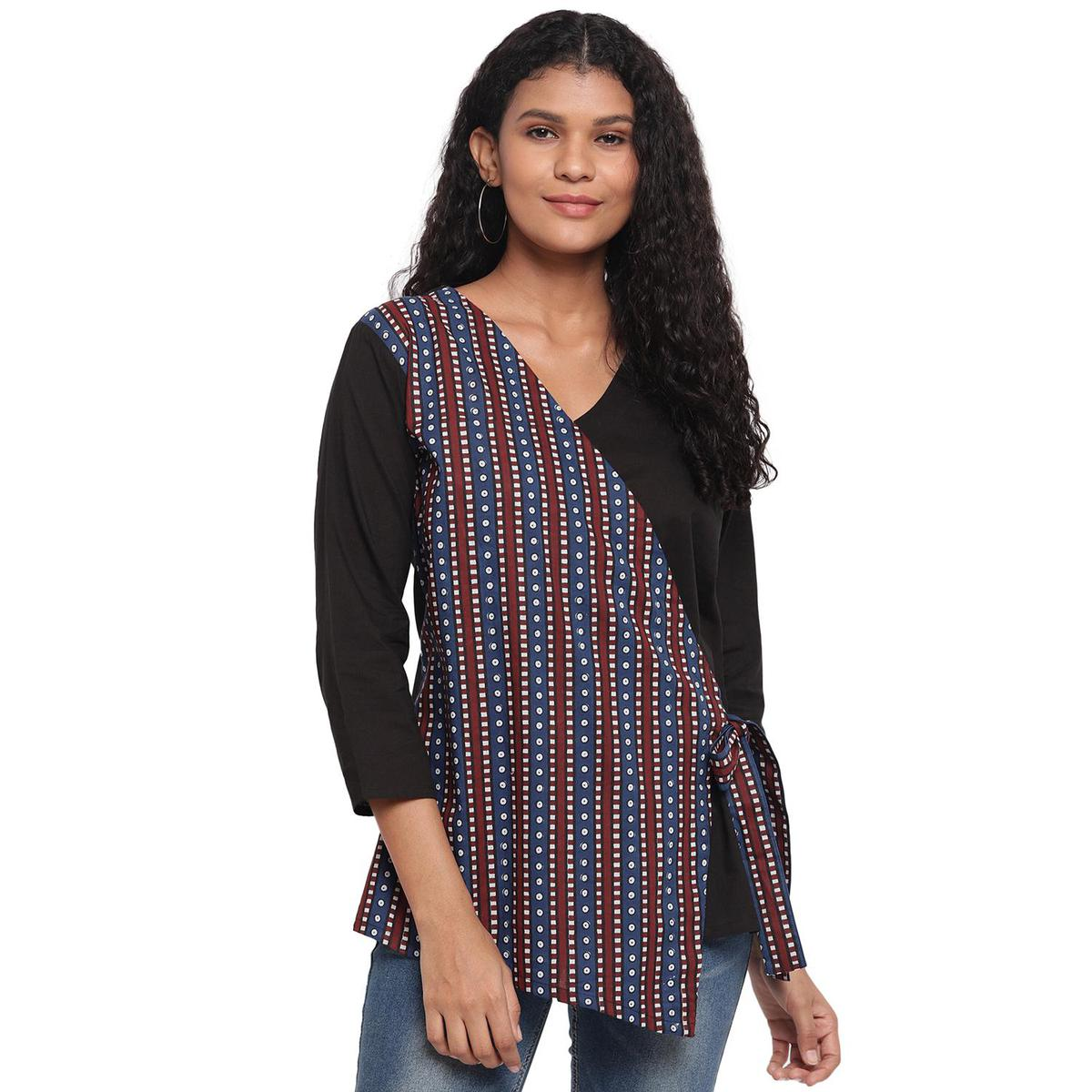 Fabnest - Black-Blue Colored Casual Wear Printed Panel And Side Tie Up Cotton Top