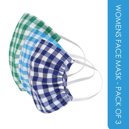 Fabnest - Womens Light Blue-Green-Navy Blue Check Face Cover - Pack Of 3