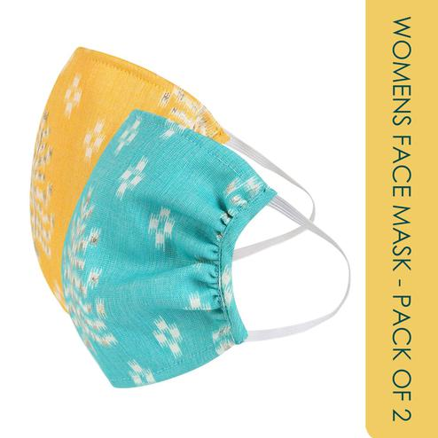 Fabnest - Womens Yellow And Blue Graphic Print Face Cover - Pack Of 2