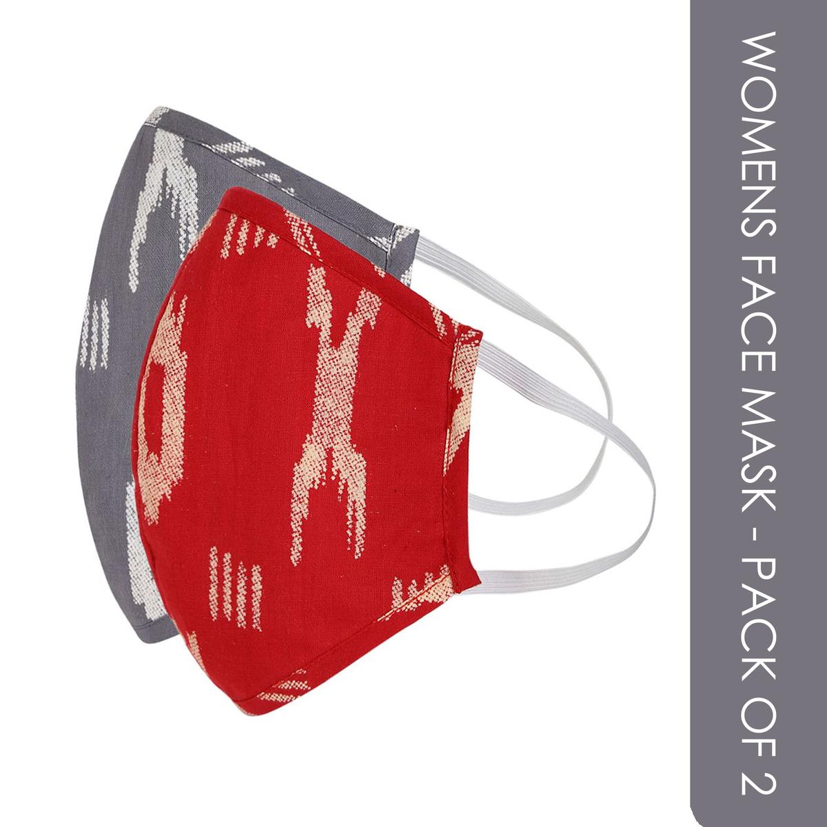 Fabnest - Womens Grey And Red Ikkat Face Cover - Pack Of 2