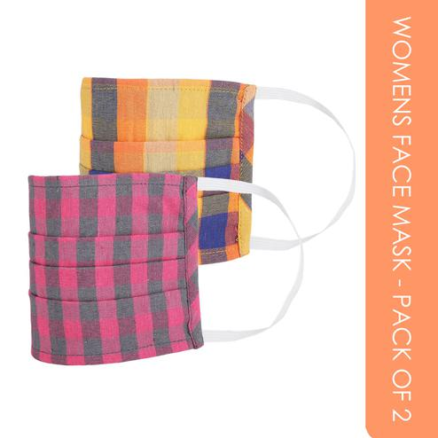 Fabnest - Womens Multicolour Check Face Cover - Pack Of 2