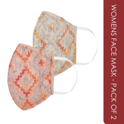 Fabnest - Womens Multicolour Printed Face Cover - Pack Of 2