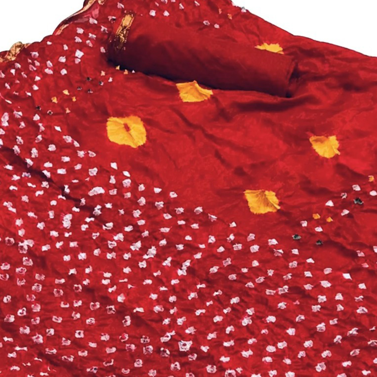 Opulent Red Colored Festive Wear Bandhani Printed Pure Silk Saree