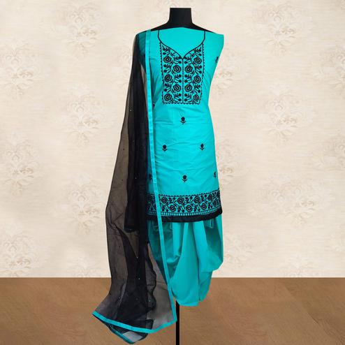 IRIS - Aqua Blue Colored Partywear Floral Embroidered Cotton Patiala Dress Material