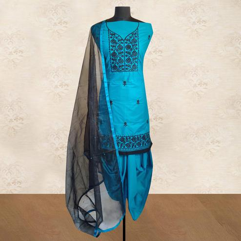 IRIS - Blue Colored Partywear Floral Embroidered Cotton Patiala Dress Material