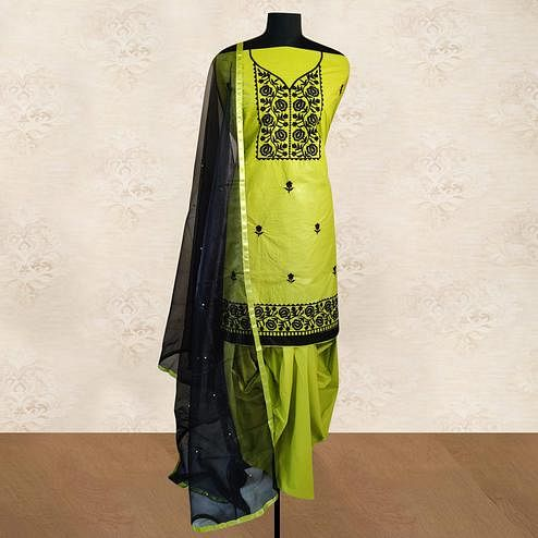 IRIS - Lime Green Colored Partywear Floral Embroidered Cotton Patiala Dress Material