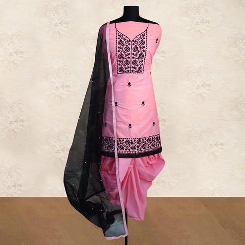 IRIS - Light Pink Colored Partywear Floral Embroidered Cotton Patiala Dress Material
