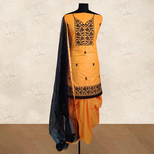 IRIS - Mustard Yellow Colored Partywear Floral Embroidered Cotton Patiala Dress Material