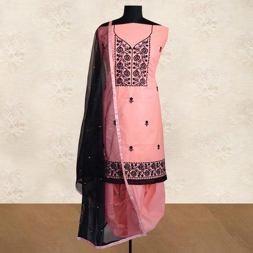 IRIS - Peach Colored Partywear Floral Embroidered Cotton Patiala Dress Material